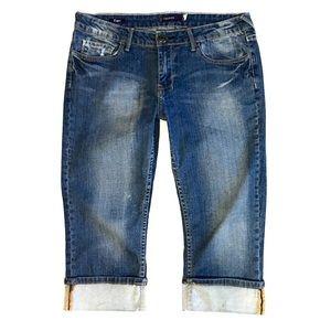 Vigoss Distressed Capri Pants with Folded Cuffs